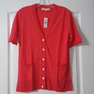 LOFT Textured Short Sleeve Cotton Cardigan